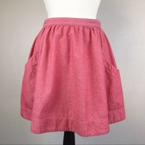 Fossil Soft Red Cotton Flare Skirt
